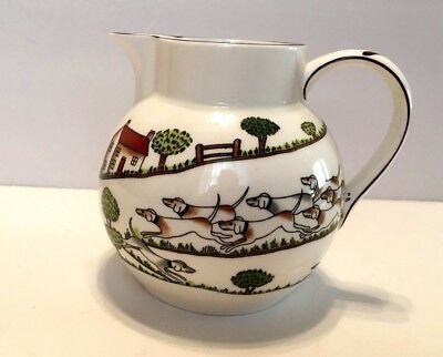 Crown Staffordshire Hunting Scene 16 Oz Pitcher 1970's Discontiued