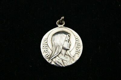 † OUR LADY of LOURDES MARY IMMACULATE 900 STERLING SILVER MEDAL CHARM FRANCE †