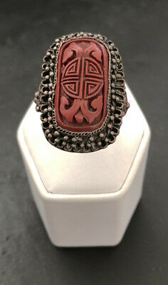 Vintage early 20th Century Chinese Cinnabar Ring