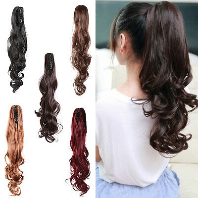 New Womens Hairpiece Wavy Curly Black Claw Hair Ponytail Clip-on Hair Extensions