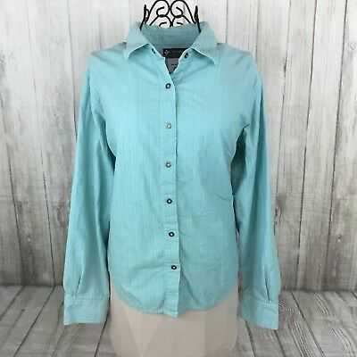 41ca91d62bf Columbia Women's Light Blue Button Down Corduroy Long Sleeve Shirt Size  Large L