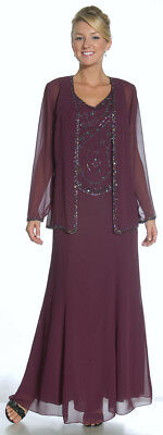 Mother of the Bride Dress Formal Gown Long Sleeves Jacket V-Neck Beads M L XL 2X
