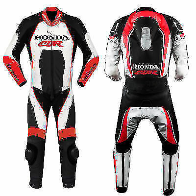 Honda Red Motorcycle Leather Racing Suit Ce Approved Protection All Sizes Cbr