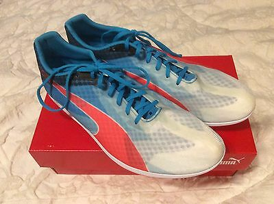8560aef3ba0 NWB PUMA TRACK evoSPEED DISTANCE v6 WHITE ATOMIC Blue-red Men SPRINT  SNEAKER 9.5