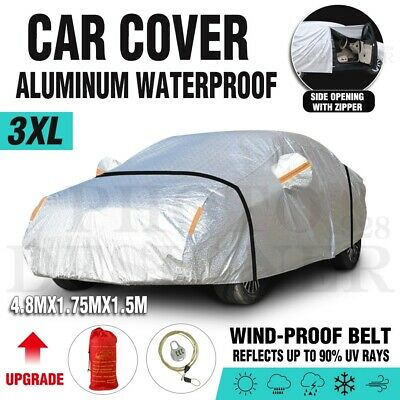 3XL 3 Layers Double Thicker Car Cover Waterproof Rain UV Dust Resistant+Lock+Bag