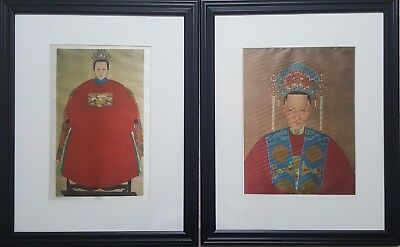 Lot Of Two Antique Chinese Vintage Color Lithograph On Silk Framed