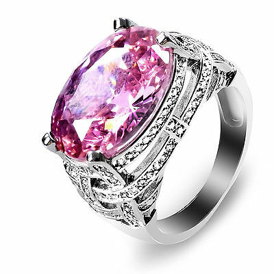 Fashion Women Jewelry Plated CZ Pink Sapphire Band Wedding Ring for Women Gift