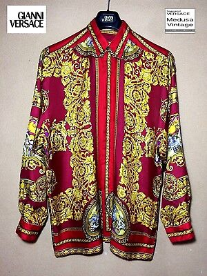 a62fa9a4c3593 Gianni Versace V2 100% Silk Printed Shirt Men Baroque Apollon s Chariot  Angels