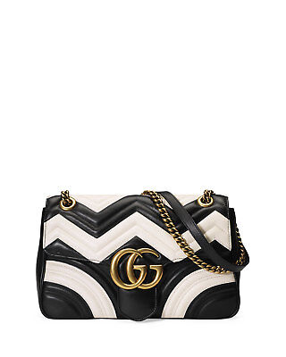 56a713c17 100% AUTHENTIC GUCCI GG Marmont Chevron Shoulder Bag, Black/White ...