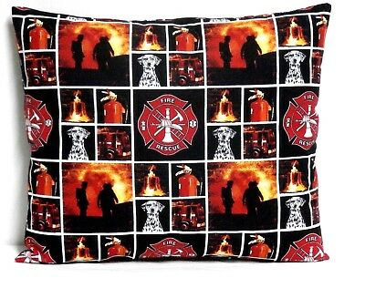 Firemen Toddler Pillow on Red and Black Cotton FM1-9 New Handmade