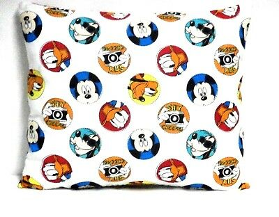 Mickey Mouse Toddler Pillow on White Cotton M25-2 New Handmade