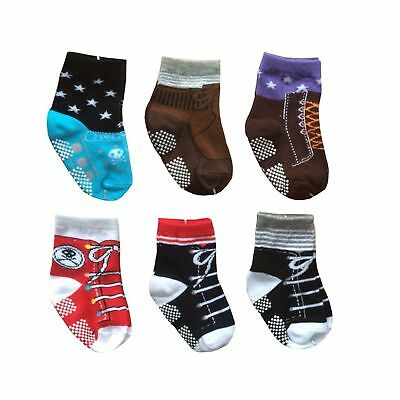 Toddler 6 Pairs Anti Slip Socks 12-24 Months Infant Baby Non Skid Cotton Cozy...