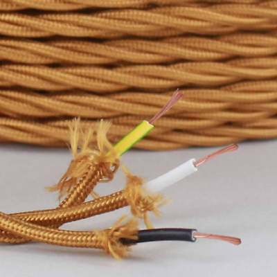 GOLD ~ 3 Wire GROUND ~ TWISTED ~ Fabric Lamp Cord ~ Price Per Foot