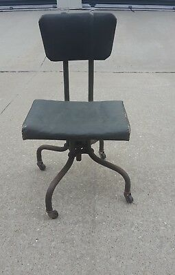 Antique Vintage Industrial Propeller Tanker Sturgis Posture Desk Shop Chair