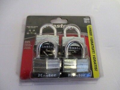 4 Each Steel Master Pad Locks With Same Key For All 8596Q