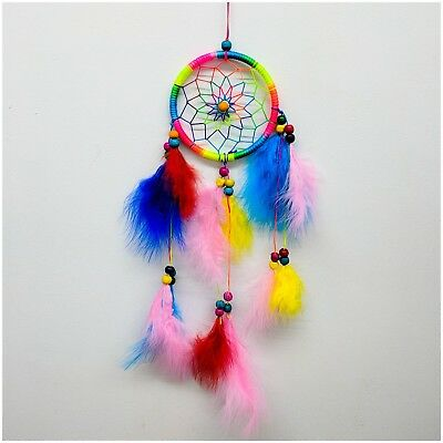 Dream Catcher With Color Feathers Hand Made Decorations | Ships FREE In US!