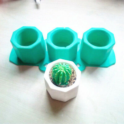 Silicone Cactus Flowers Pot Mold Ceramic Clay Craft Casting Concrete Cup Mould .