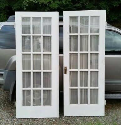 Vintage Wood Interior French Door w/ Glass Panes from1930s