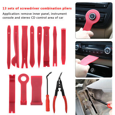 13x Car Door Upholstery Clip Panel Trim Dash Radio Audio Removal Pliers Tool Kit