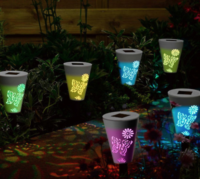 6X Solar Garden Silhouette Butterfly Lights Magic Path Lighting Colour Changing