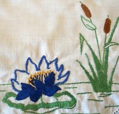 Lovely Centrepiece Doily Vintage Hand Embroidered Water Lily & Bulrush