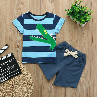Toddler Kids Baby Boys Embroidery Cartoon Print T Shirt Tops Shorts Outfits Set
