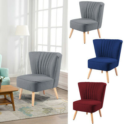 Wing Back Armchair Accent Upholstered Chair Living Bedroom Lounge Retro Fabric