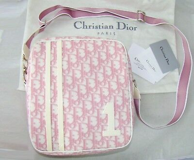 3c71f9e42be73 CHRISTIAN DIOR VINTAGE messenger shoulder bag purse pack white pink monogram
