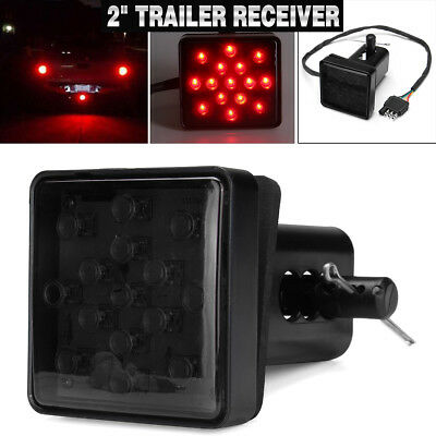 "2"" Trailer Hitch Receiver Cover With 15 LED Brake Leds Light Tube Cover w/ Pin"