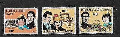 1981 Royal Wedding Set of 3 Stamps Complete MUH/MNH as Issued