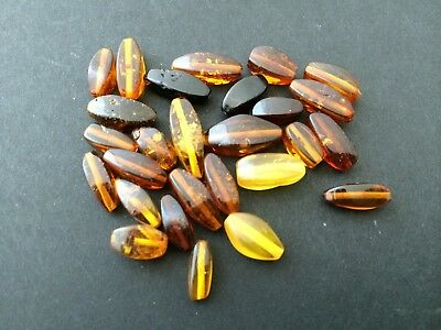 Natural antique Baltic amber stone beads #7652