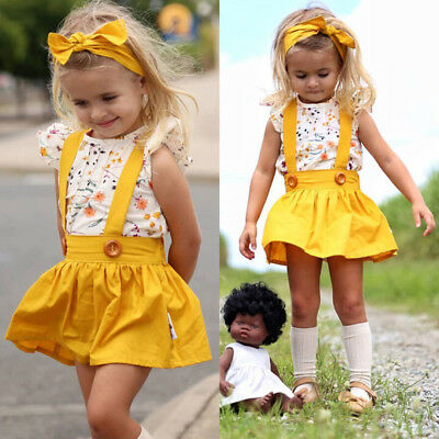 3PCS Toddler Kid Baby Girl Summer Clothes T-shirt Tops+Skirt+Headband Outfits AU