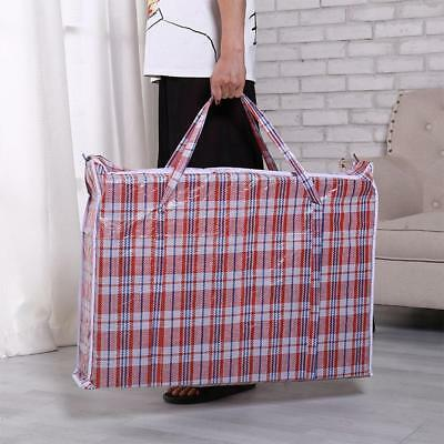 Large Plastic Zipper Bag Woven Laundry Grocery Shopping Storage Bags