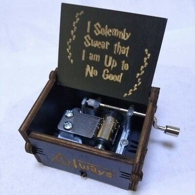 Wooden Hand Engraved Music Box Creative for Harry Potter Theme Hedwig Music