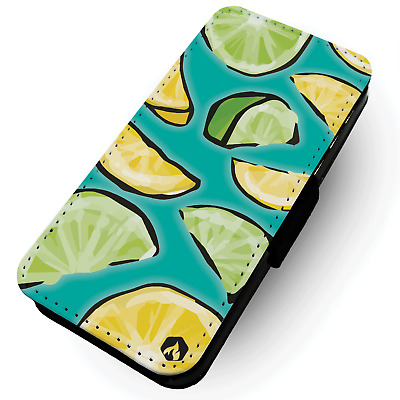 Fruit Pattern - Lemon And Lime - Printed Faux Leather Flip Phone Case #2 - Vegan