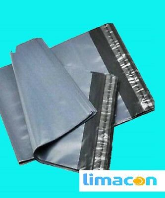 "500 GREY MAILING BAGS POLYTHENE POSTAL SELF SEAL BAGS 10"" x 13.5"", 250 x 350mm"