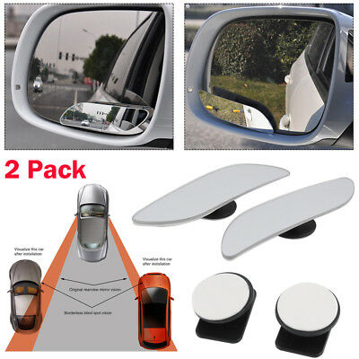 Blind Spot Mirror x 2 Rimless HD Glass Wide Angle 360° Convex Mirror Rear View