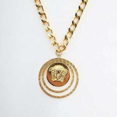 new VERSACE polished gold Medusa medallion triple halo chunky chain necklace
