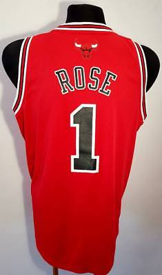 check out caf03 56ab3 CHICAGO BULLS VINTAGE CHAMPION rose # 1 Jersey red NBA basketball size L