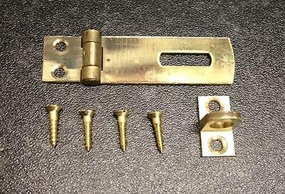 Small Solid Brass Hasp and Staple Catch Latch Cabinet Lock 50mm Inc Screws NEW