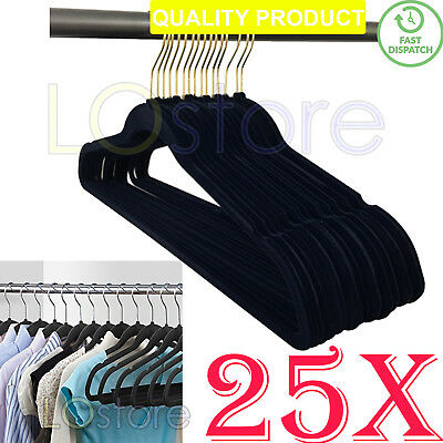 25X Black Velvet Coat Flocked Hangers Non-Slip Garment Hanger 360° Swivel Hook