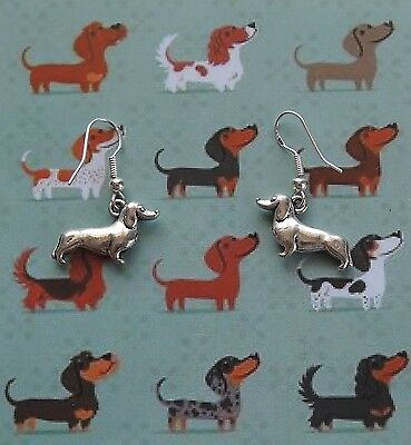 Dachshund (Sausage Dog) Earrings with Sterling Silver hooks Tibetan Silver charm
