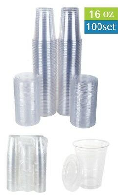 Disposable Plastic Cups with Flat Lids 100 Sets 16 oz Crystal Clear NEW