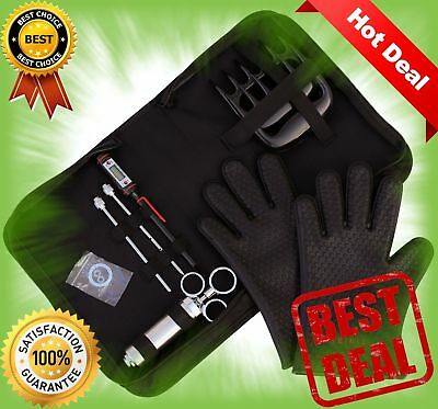 BBQ Set 1x BBQ Gloves, 1x Bear Paws Meat Handler, 1x Seasoning Injector Grilling