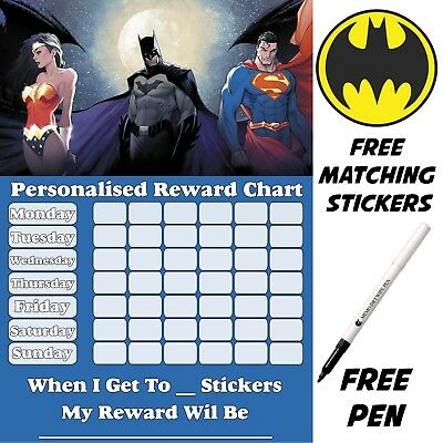 Super Hero Reusable Potty training Reward Chart, free Stickers & pen MAGNETIC