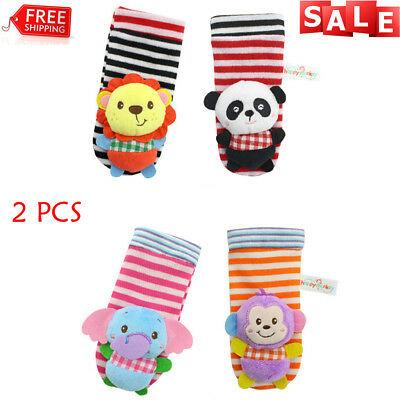 2PCS Cute Animal Infant Baby Kids Hand Wrist Bell Foot Sock Rattles Soft Toy New