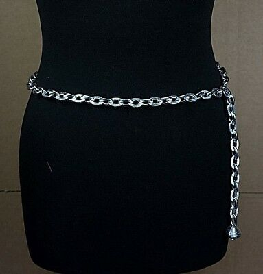 Ladies Silver Metal Chain Waist Belt - Chunky Aluminium Chain - Craft