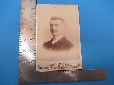 Antique Cabinet Photograph of Young Mustache Man by Harrison Chicago IL S6921