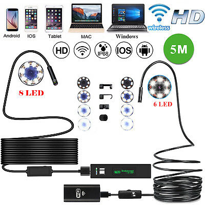 5M 8mm HD Wireless Wifi Endoscope Borescope Inspection Camera for iPhone Android