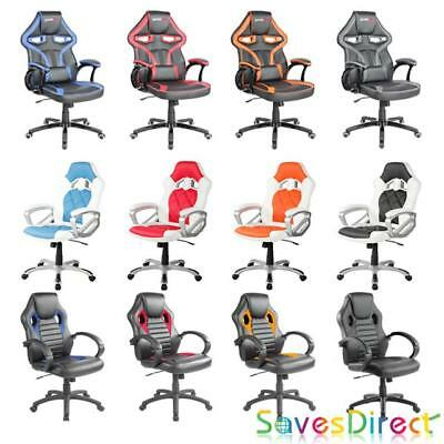 Saves Direct Office Chair Sports Racing Gaming Swivel Pu Leather All Colours New